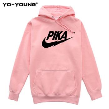Yo-Young Women Hoodies Sweatshirts Pikachu Funny Brand Logo Pokemon Pullover Sweatshirt Hoodies Unisex Streetwear Quality