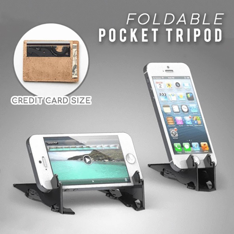 FOLDABLE POCKET PHONE TRIPOD Foldable Rotation Triangle Card Type Stable Pocket Tripod  Desktop Stander For Mobile Phone Holder