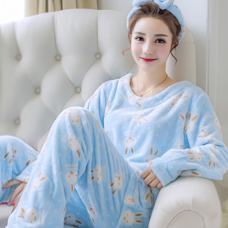2PCS Pajamas Set For Young Lady Flannel Nightwear Autumn Winter Warm Thick Women O-neck Coral Fleece Sleepwear Home Clothing