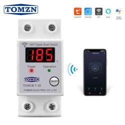 Din-рейка WIFI автоматический выключатель с дисплеем напряжения умный переключатель пульт дистанционного управления от Smart Life TUYA для умного до...