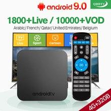 QHDTV IPTV France Arabic Belgium 1 Year IP TV KM9 Android 9.0 4G+32G BT USB3.0 Dual-Band WIFI 4K Netherlands