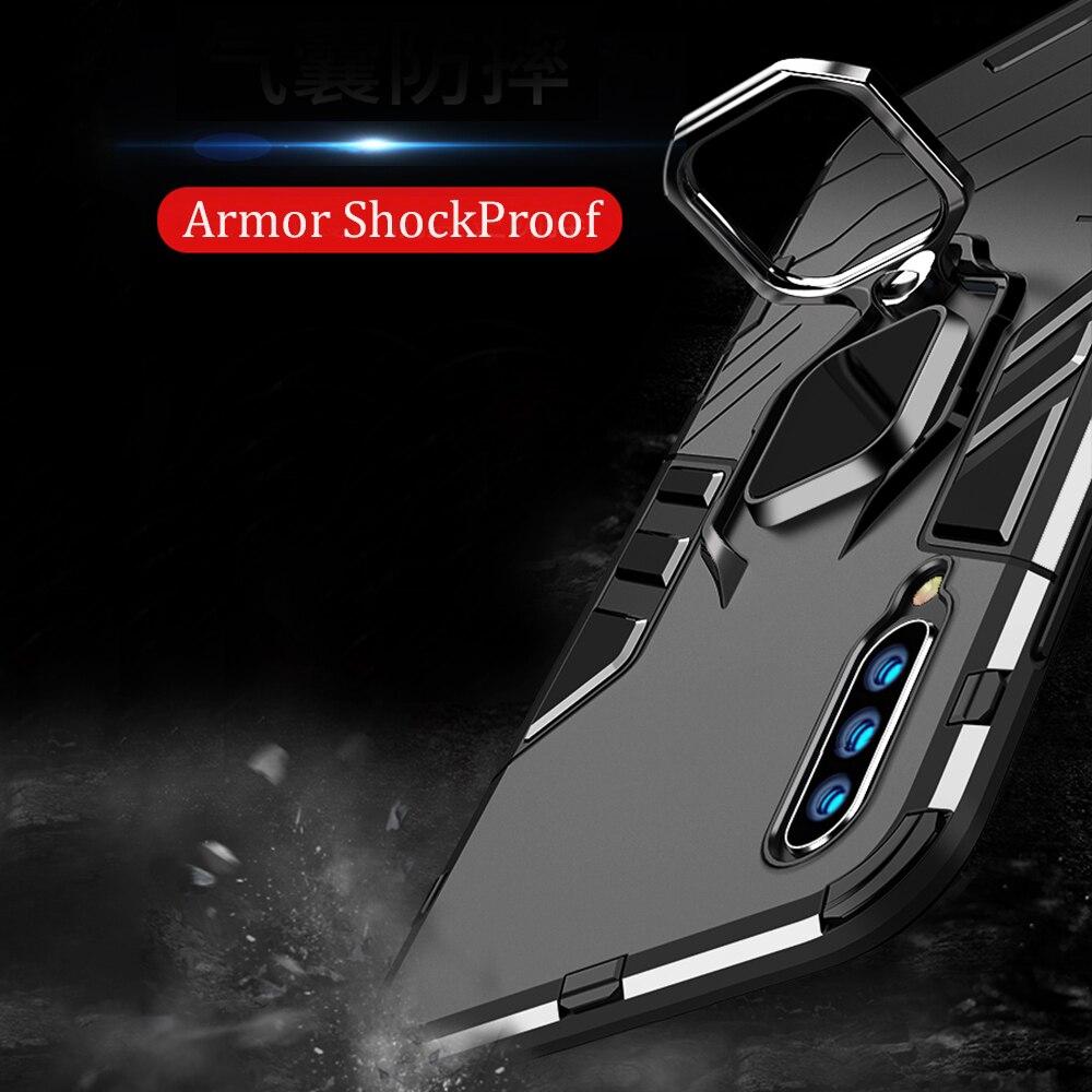 Hf87cdba14b1648f1b7e20924a4f4c745g For Xiaomi Mi A3 Case Armor PC Cover Finger Ring Holder Phone Case For Mi A 3/Mi CC9 CC 9e Cover Shockproof Bumper TPU Rim Shell