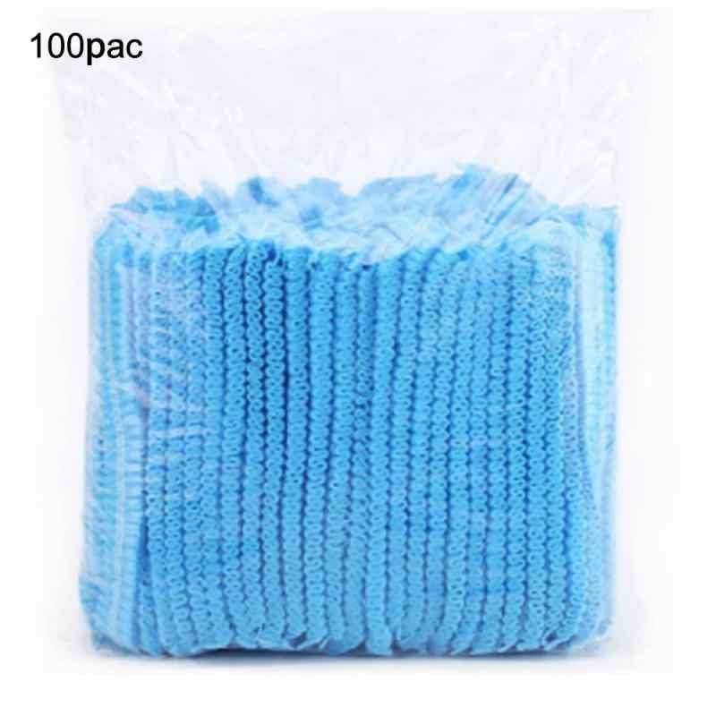 100pcs Disposable Hair Net Bouffant Cap Non Woven Stretch Dust Cap Head Cover Blue And White Random