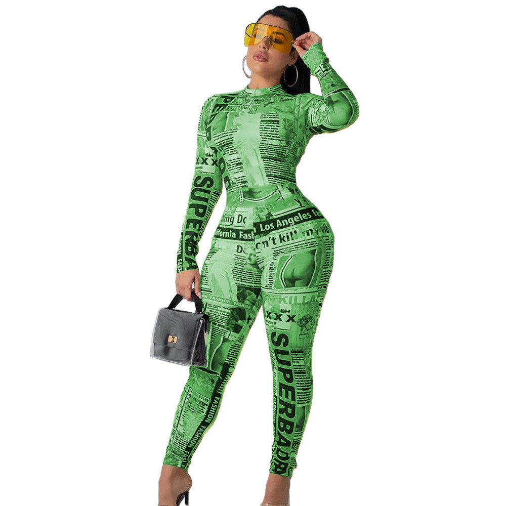 News Paper Print Designer Bodysuit Autumn Playsuit Overalls Women Newspaper Print Long Sleeve Bodycon   Jumpsuit   Sexy Club Rompers