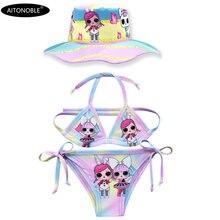 Aitonoble/Одежда для купания; комплект бикини для девочек; комплект принцессы из двух предметов; одежда для купания; костюм принцессы для костюмированной вечеринки