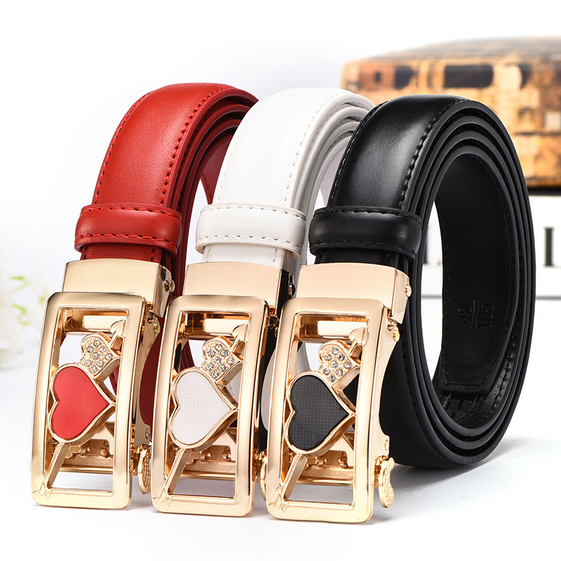 2.4cm Width High Quality Women Genuine Leather Belts Waistband Fashion Automatic Buckle Belt For Women Female Durable Straps