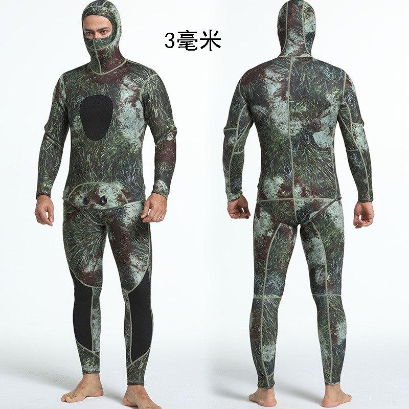 Camouflage deux pièces ensemble néoprène Camouflage combinaison de plongée résistant au soleil et chaud combinaison de surf pour hommes plongée combinaison humide avec capuche 3mm - 5