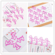 10pcs/lot Cartoon Animal Pink Pig And Beautiful Pink Bird Paper Clip Mini Bookmark Planner Metal Clip For Book Stationery