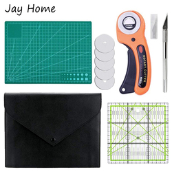 5Pcs 45mm Rotary Cutter Set for DIY Quilting Sewing Hand Cutting Knife Cutting Mat Patchwork Ruler Leather Craft Sewing Kit