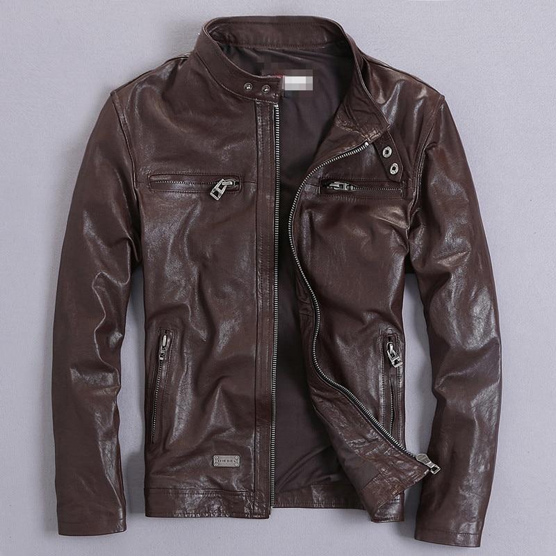 High Quality Genuine Leather Jacket Men Real GoatSkin Leather Bomber Jackets Spring Autumn Plus Size Motocycle Outwear 2020