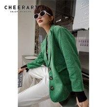 CHEERART Corduroy Green Blazer Women Tweed Blazers And Jackets Ladies Blazers Co