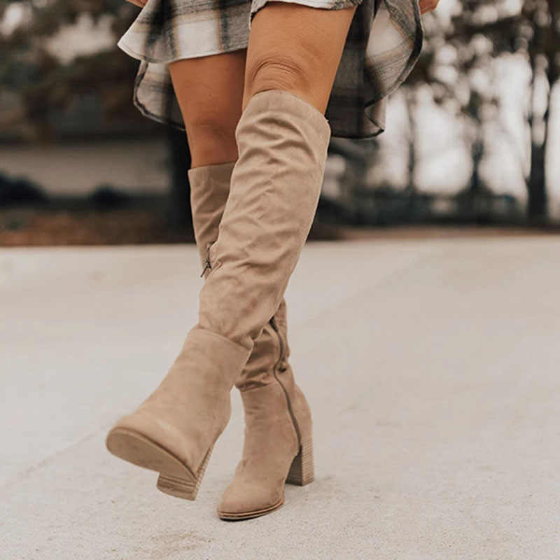 SHUJIN Women Boots Lace Up Sexy High Heels Women Shoes Lace Up Winter Knee-High Boots Warm Size 35-43 2019 Fashion Boots
