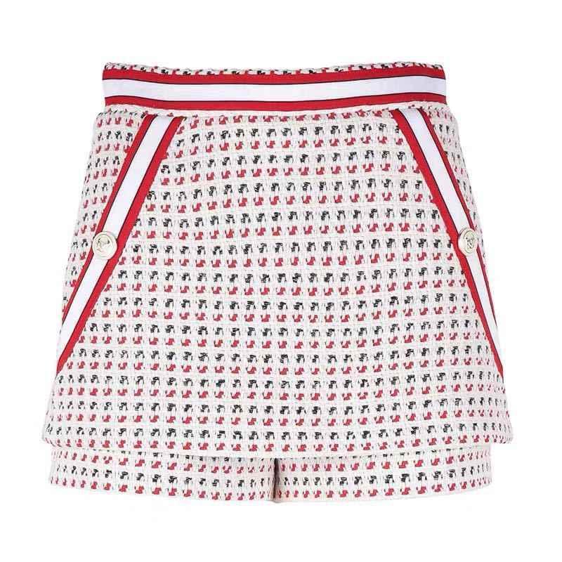 Fadan M 'S Nieuwe Dames Gestreepte Rand Tweed Jacquard Shorts In Lente En Zomer 2020