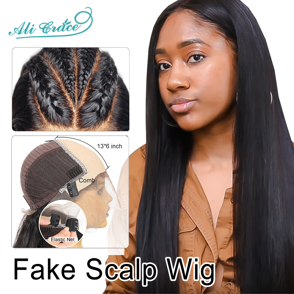 Premade-Fake-Scalp-Wig-Straight-Lace-Front-Human-Hair-Wigs-for-Black-Women-Invisible-Knots-Fake