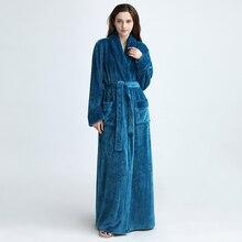 1pcs Women/Men robes autumn Lengthened Soft Winter Bathrobe Comfortable Warm Lon