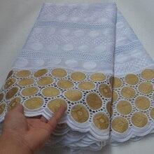 8 Kleuren (5 Yards/Pc) wit En Goud Afrikaanse Katoen Kant Stof Groothandel Zwitserse Kant Stof Voor Elegante Feestjurk CLP396