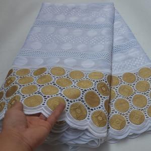 Image 1 - 8 farben (5yards/pc) weiß und gold Afrikanische baumwolle spitze stoff großhandel Schweizer spitze stoff für elegante party kleid CLP396
