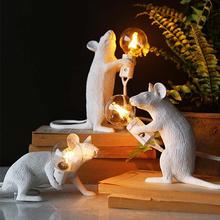 Nordic żywica zwierząt mysz lampa stołowa LED przenośny E12 mini salon biurko w sypialni lampka nocna ue US wtyczka tanie tanio moonlux CN (pochodzenie) Łóżko pokój Black Z tworzywa sztucznego Ue wtyczka 110 v Dotykowy włącznik wyłącznik Żarówki led