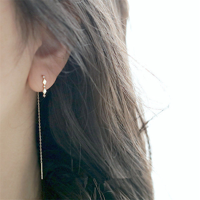 925 Sterling Silver 14k Gold Plating Inlaid Crystal French Diamond Tassel Ear Line Women Retro Classic Party Jewelry Accessories 5