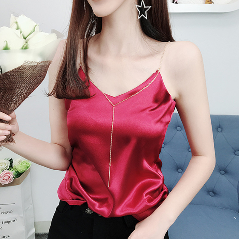 Korean Fashion Silk Women Tops Sexy Woman Halter Top Woman V-neck Satin Top Tees Plus Size Vest Summer Women Sleeveless Tops XL
