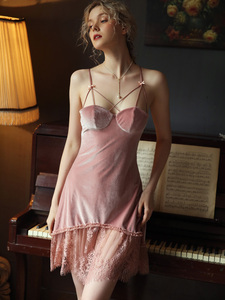 Image 5 - Sexy Velvet Nightdress Woman Lace V neck Nightgown Sleepwear Back Suspender with Breast Pad Small Chest Temptation Nightwear