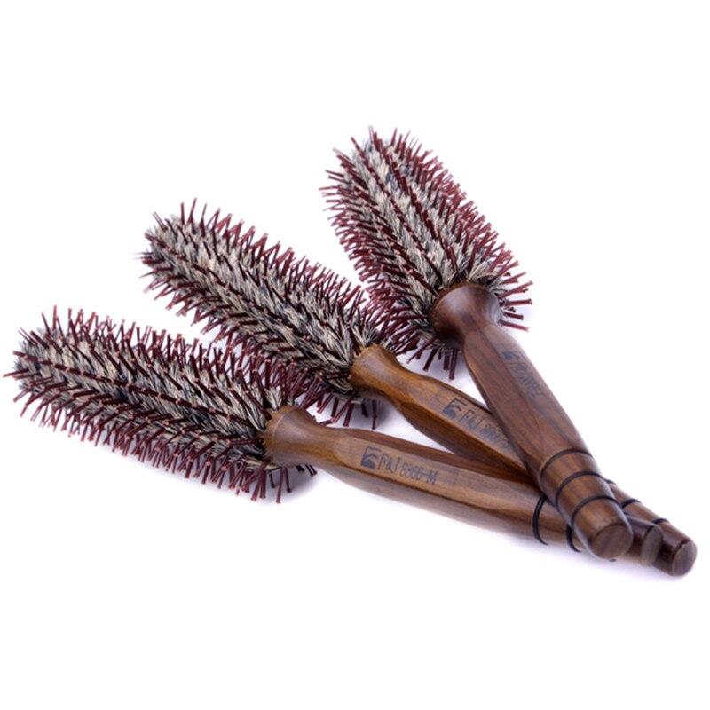 IRUI 1pc Natural Boar Bristle Nylon Wooden Handle Embossing Hair Brush Beauty Salon Hairdressing Barber Comb