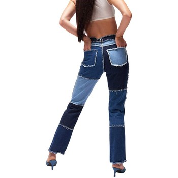 2021 New Patchwork Ripped Pockets High-Waisted Slimming Loose Jeans Women's Fashional Casual High Street Straight-leg Long Pants 2