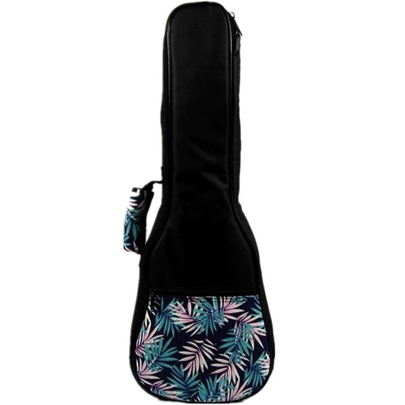 Vintage Soprano Concert Tenor Ukulele Soft Bag Blue Leaves Case Gig Padded Pattern Creative Gifts Kids Girl Boy 23 Inch B