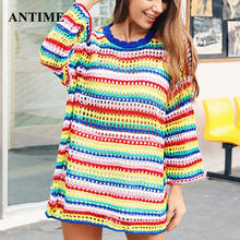 Antime Fahsion Colorful Hollow Out Shirt Knitted Striped Tops Cotton Autumn Winter Rainbow Print Loose Women Sweater Shirt(China)