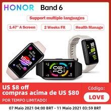 Honor-pulsera inteligente Honor Band 6 Original, reloj inteligente deportivo resistente al agua con Bluetooth, control del ritmo cardíaco durante el sueño, llamadas y natación AMOLED