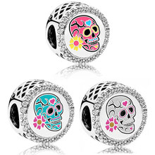 The real silver law 925 adjusts the charm of the day of the dead to women's DIY bracelets original jewelry(China)