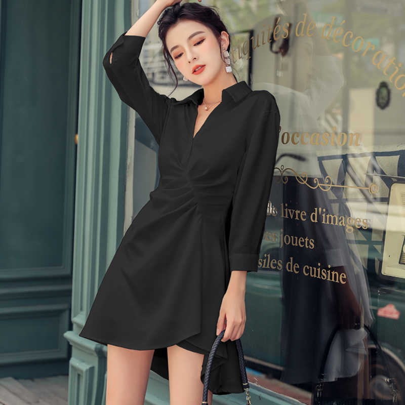 H Han Queen solide blanc col rabattu robe courte femmes 2019 automne France Style chemise robes OL décontracté travail a-ligne Vestidos