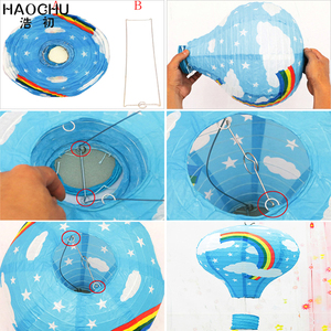Image 5 - 5PC 大熱気球提灯レインボーハンギングボール白中国の結婚式誕生日ホリデーパーティーの装飾