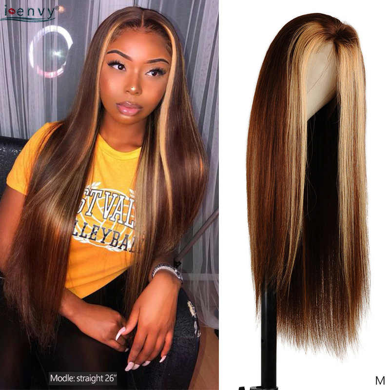 Blonde And Brown Highlight Lace Front Human Hair Wigs Straight 13 4 Colored Human Hair Wigs Brazilian Remy Lace Front Wigs 180 Lace Front Wigs Aliexpress