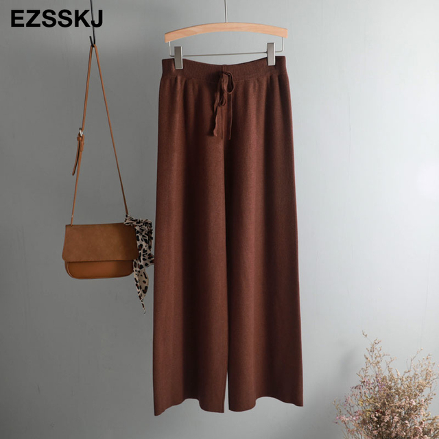 2019 autumn winter new THICK casual straight pants women female drawstring loose knitted wide leg pants casual Trousers 60