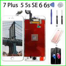 цена на For iPhone 7 Plus 5 5s SE 6 6s LCD Replacement Touch Screen Digiziter Assembly for iPhone 6 LCD with No Dead Pixel+Tempered Film
