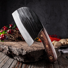 Forged Butcher Knife Traditional Handmade Knives Cleaver 7Cr17 Hammer Made Kitchen Chef Knife Meat Fish Slicing Chopping Knife