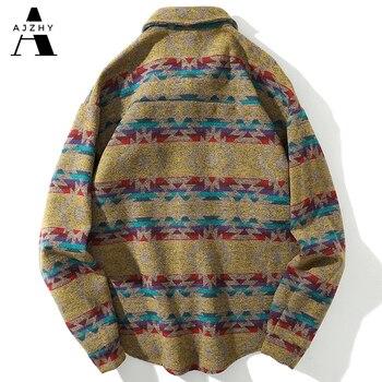 Men Autumn Winter Warm Wool Flannel Shirt Mens Long Sleeve Streetwear Velvet Silk Plaid Vintage Striped Fashions Casual Shirts 1