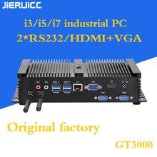 2COM RS232 безвентиляторный мини ПК с 4 USB3.0, INTEL CORE I3 I5 I7 cpu двухъядерный 4 потока, 7*24 часа работы, низкое энергопотребление