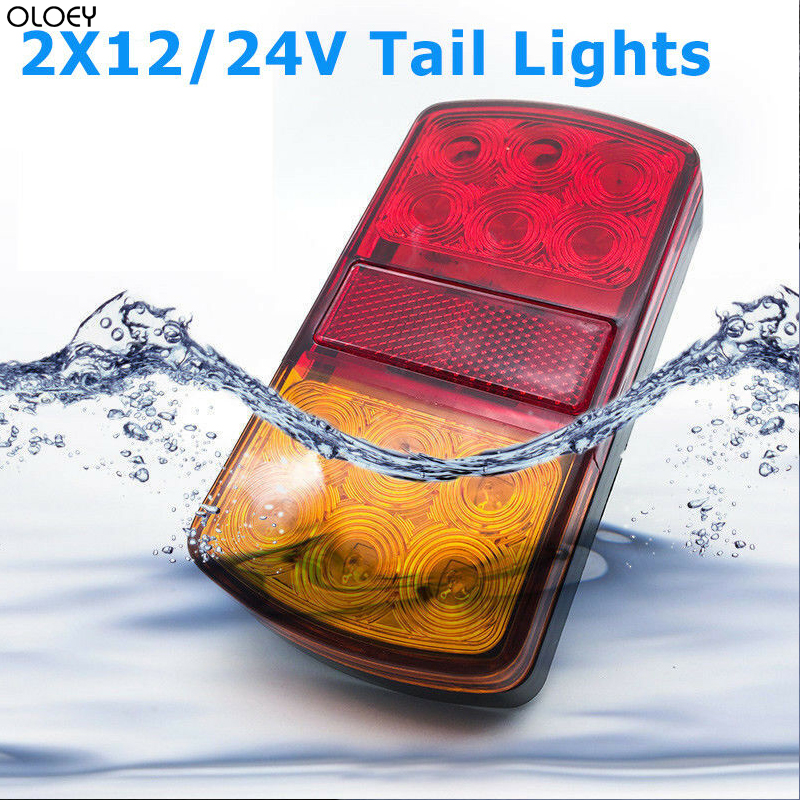 2X 12V/24V Truck Trailer Boat LED Stop Indicator Submersible Rear Tail Brake Light Waterproof Lorry Fog Signal Caution Lamp