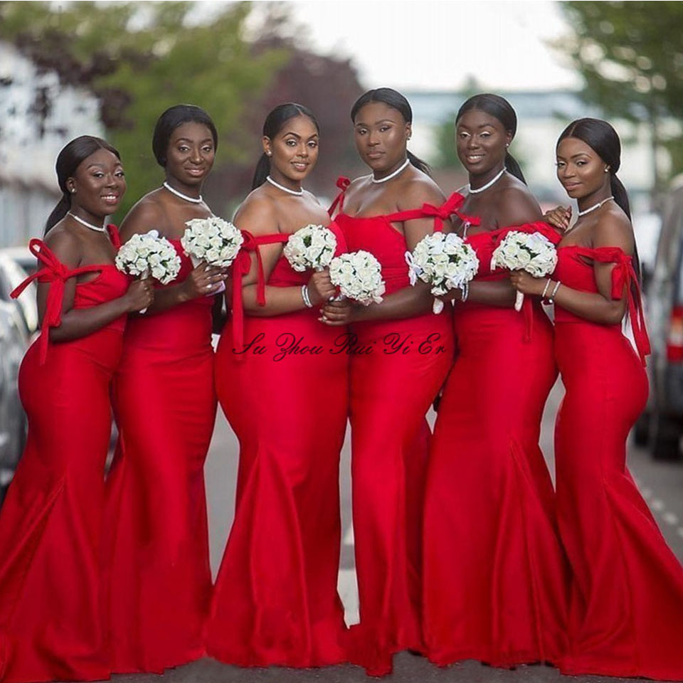 African Strapless Bridesmaid Dresses Off The Shoulder Mermaid Wedding Guest Dress Party Corset Back Satin Prom Gown For Women