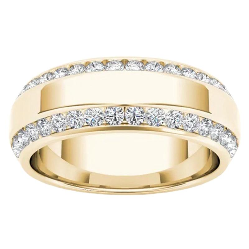 Exquisite Mens 14k Yellow Gold Double Row White Sapphire Diamond