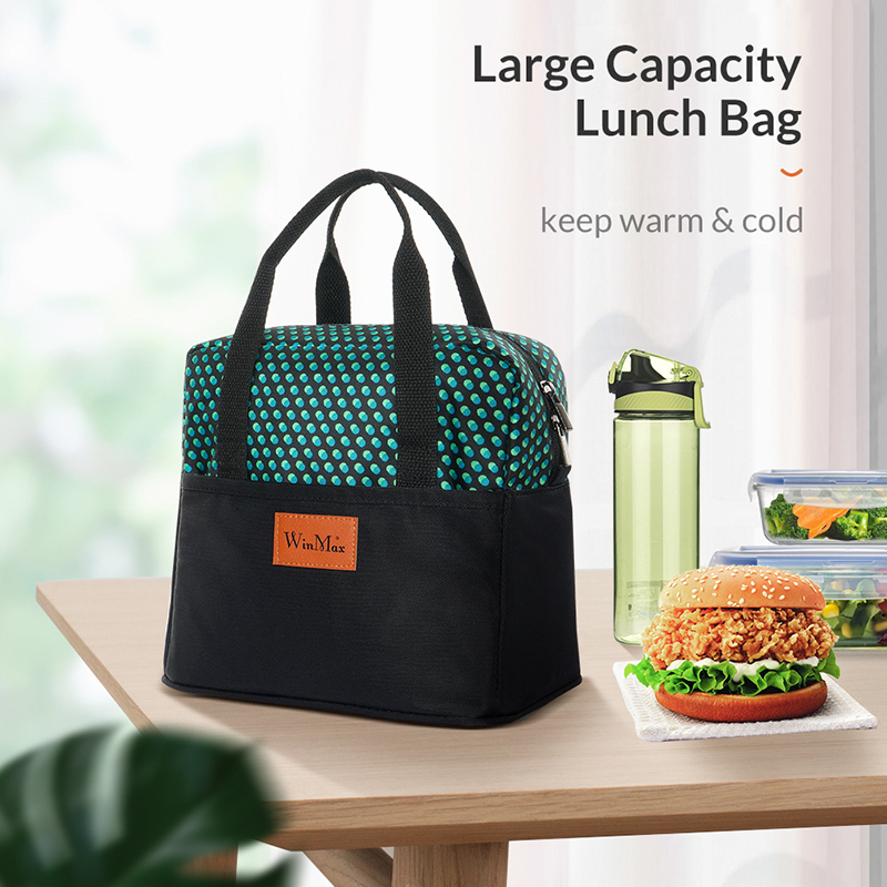 Winmax Fashion Dot Print Portable Cooler Lunch Bag Thermal Insulated Travel Tote Bags Large Food Picnic Lunch Box For Men Women