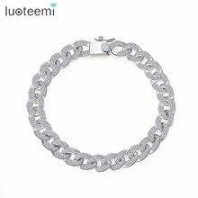 LUOTEEMI AAA Zirkonia Gepflastert Delicate Hüfte Hop Curb Cuban Link Kette Armband Für Frauen Luxus Exquisite Partei Schmuck Geschenke