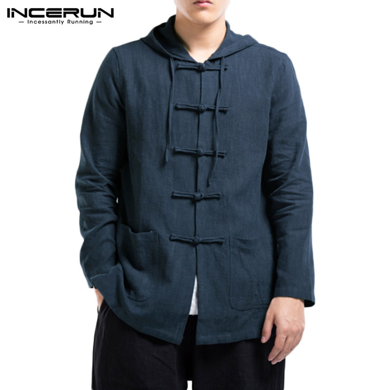 INCERUN Chinese Traditional Shirt Men Long Sleeve Cotton Linen Casual Hooded Button Up Vintage Retro Solid Hanfu Tops Men Shirts