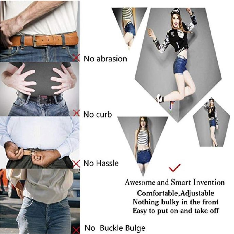 Hf87f07cae3014ea58cf94e83d32f430cU - Easy Belt Without Buckle free mens Belts For Women waist ceinture femme Elastic stretch riem Jeans hidden Invisible secret kids