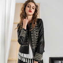 New Autumn Women Faux Leather Jackets Elegant Rivet Beaded Short PU Zipper Basic Jacket  gothic faux leather pu jacket women
