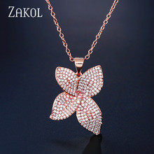 ZAKOL Luxury AAA Cubic Zircon Micro Pave Necklaces Pendants Flower Shaped for Women Fashion Wedding Jewelry FSNP2119