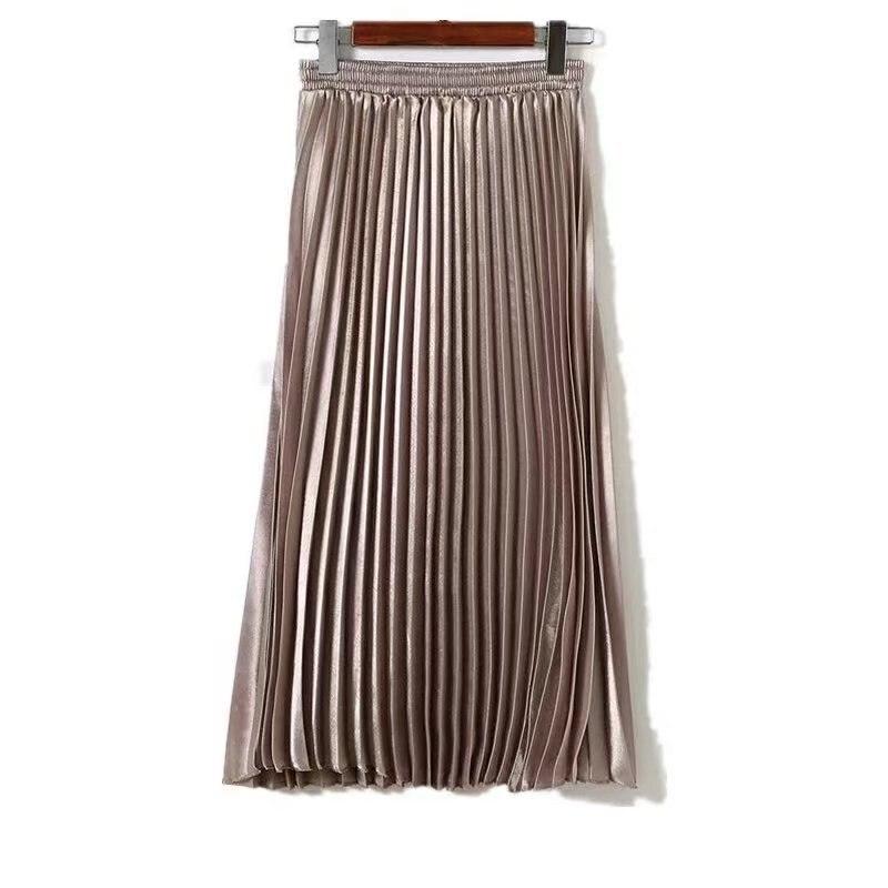 Retro A- Line Bright Surface Gloss Metal Color Elastic High-waisted Organ Satin Pleated Skirt