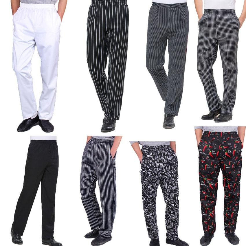 2020 News Food Service Adult Men Chef Pants Kitchen Restaurant Wear Waiter Uniform Buttons Chili Pattern Trousers Oil-proof Cook